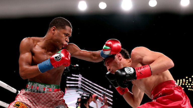 September 13, 2019; New York, NY, USA; Devin Haney and Zaur Abdullaev during their bout at the Hulu Theater at Madison Square Garden. Mandatory Credit: Ed Mulholland/Matchroom Boxing USA