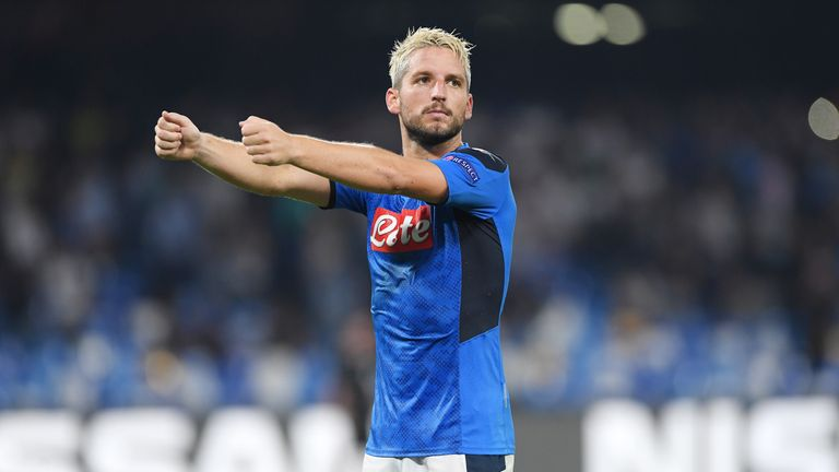 Dries Mertens celebrates after scoring against Liverpool in the Champions League