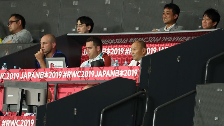 England coach Eddie Jones and the coaching staff watch on in the clash with Tonga
