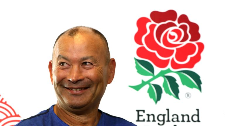 Eddie Jones faces the media ahead of England's Rugby World Cup opener against Tonga