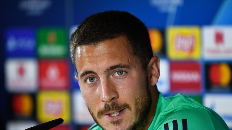 Eden Hazard speaks during a Champions League press conference