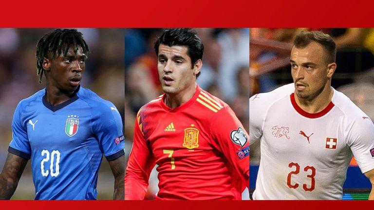 Moise Kean, Alvaro Morata and Xherdan Shaqiri will be in action for Italy, Spain and Switzerland on Sunday, live on Sky Sports
