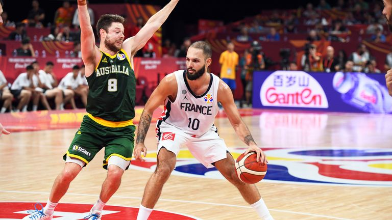 Evan Fournier handles the ball during the game against Australia during the Third Place Game of the 2019 FIBA World Cup