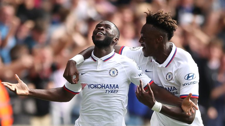 Chelsea's Fikayo Tomori celebrates scoring his side's first goal of the game with team-mate Tammy Abraham