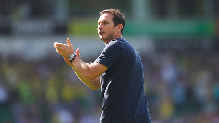 Chelsea manager Frank Lampard celebrates beating Norwich in the Premier League