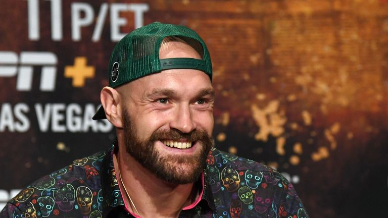 Tyson Fury at his pre-fight news conference before facing Otto Wallin.