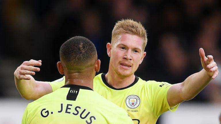 Gabriel Jesus and Kevin De Bruyne celebrate after Man City go 1-0 up
