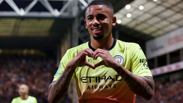 Gabriel Jesus celebrates stretching Manchester City's lead at Preston