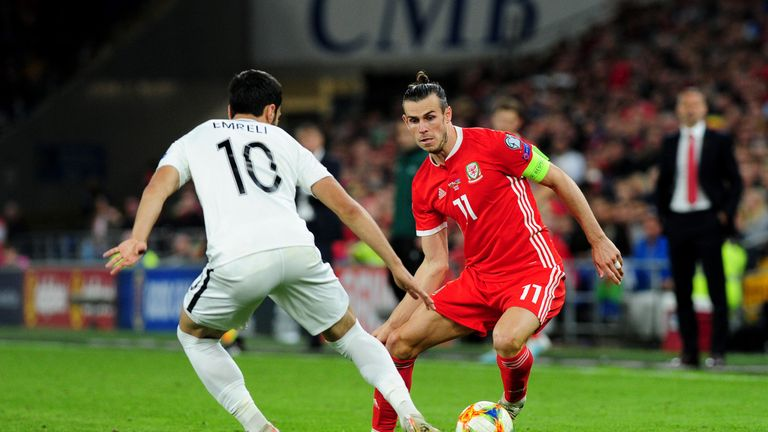 Gareth Bale of Wales in action against Azerbaijan