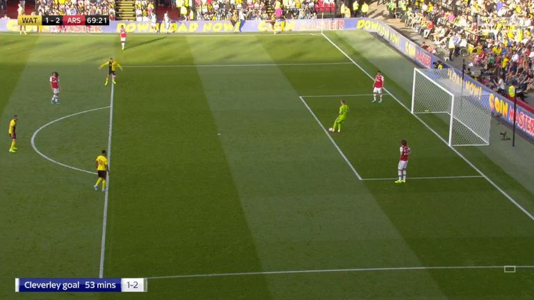 Gerard Deulofeu looked to be inside the area when the Bernd Leno's goal kick was taken