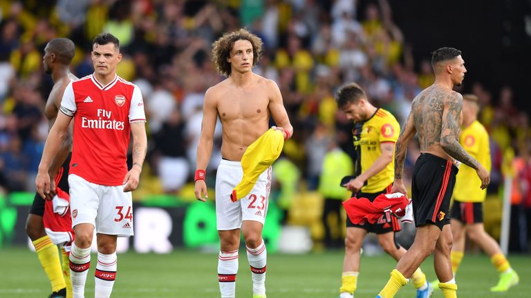 Granit Xhaka and David Luiz at full-time in the 2-2 draw with Watford