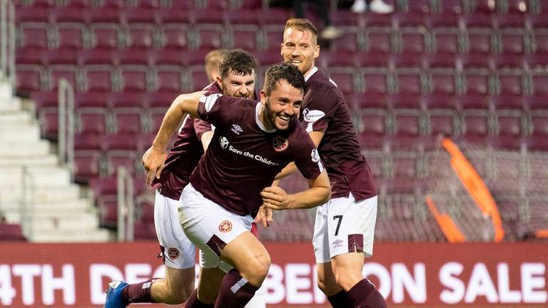Craig Halkett scores for Hearts in the League Cup