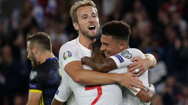 Goals from Raheem Sterling, Harry Kane,  and Jadon Sancho gave England a thrilling victory after a poor start