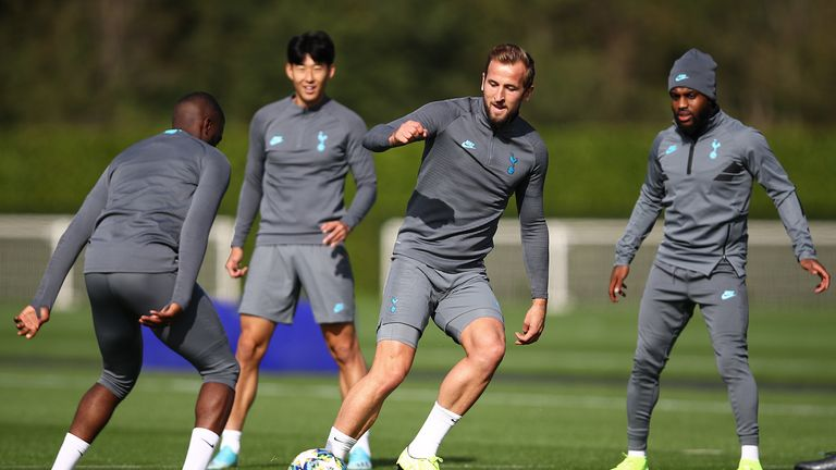 Harry Kane in training for Tottenham ahead of their Champions League meeting against Bayern Munich