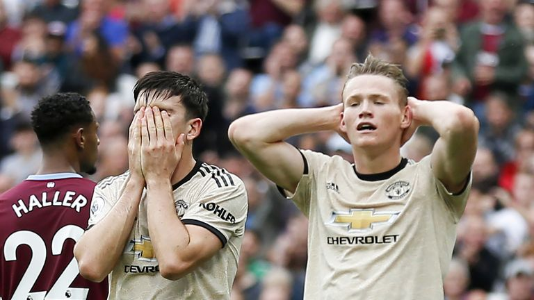 Harry Maguire and Scott McTominay react to a missed chance at goal