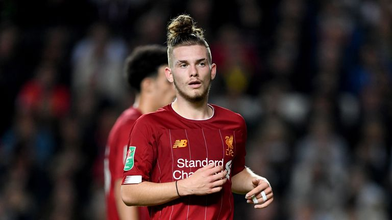 Liverpool's Harvey Elliott during the Carabao Cup, third Round match away to MK Dons