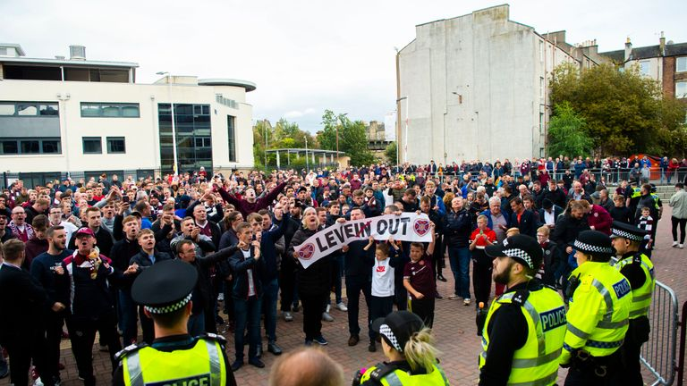 Hearts fans protest outside Tynecastle following their 3-2 defeat to Motherwell