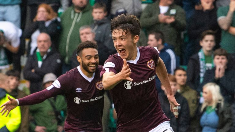 EDINBURGH, SCOTLAND - SEPTEMBER 22:  Aaron Hickey celebrates after scoring to make it 2-1 during the Ladbrokes Premiership match between Hibs and Hearts at Easter Road, on September 22, 2019, in Edinburgh, Scotland. (Photo by Ross Parker / SNS Group)