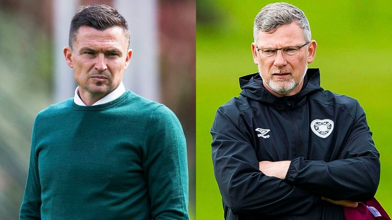 Hibernian head coach Paul Heckingbottom and Hearts manager Craig Levein