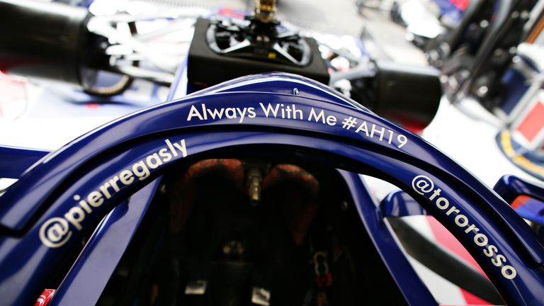 Pierre Gasly's messages for Hubert on his Toro Rosso Halo