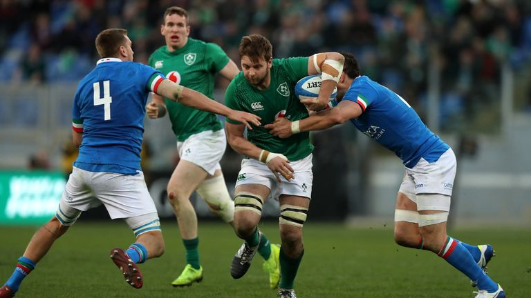ROME, ITALY - FEBRUARY 24: Iain Henderson of Ireland charges upfield during the Guinness Six Nations match between Italy and Ireland at the Stadio Olimpico on February 24, 2019 in Rome, Italy. (Photo by David Rogers/Getty Images)