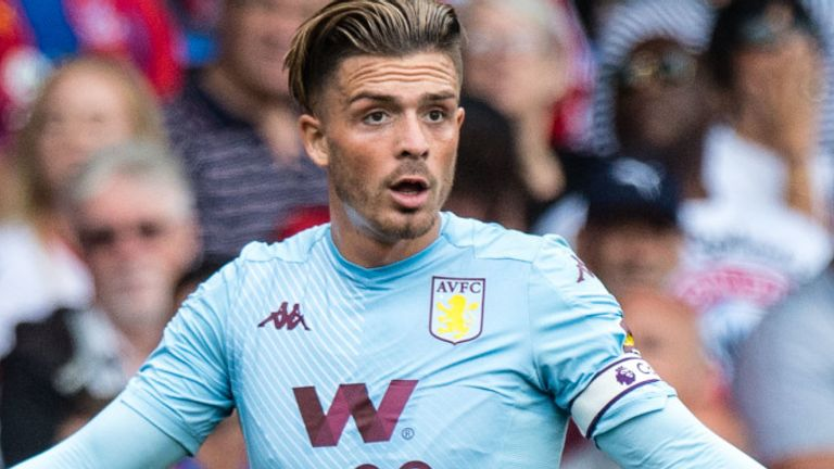 Jack Grealish reacts after he is booked for simulation in Aston Villa's defeat to Crystal Palace