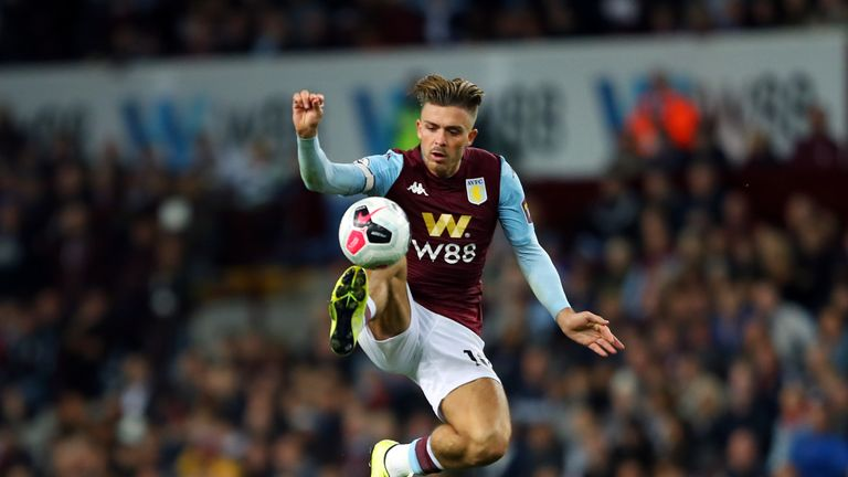 Jack Grealish controls the ball during a Premier League match between Aston Villa and West Ham