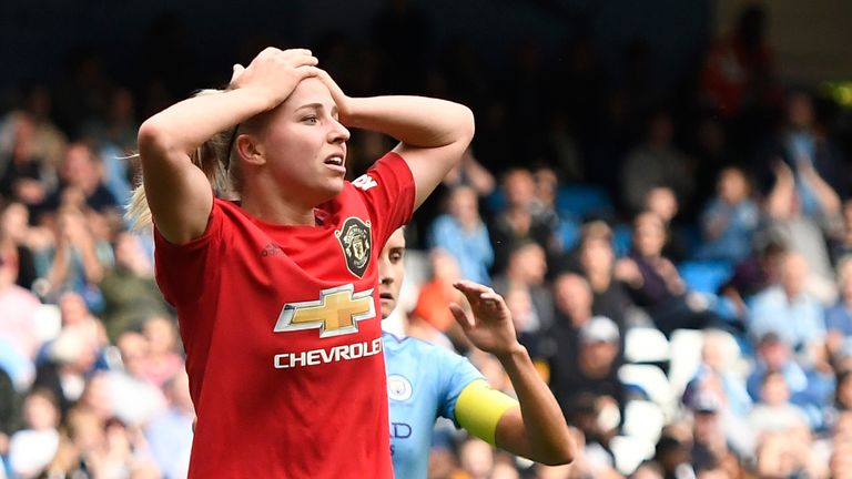 Jackie Groenen late effort cannoned off the post as United were denied a point