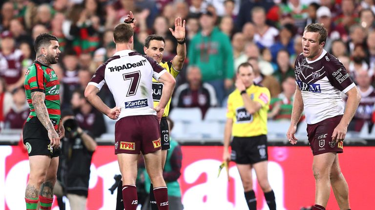 Jake Trbojevic was controversially sin-binned in Manly's defeat to South Sydney