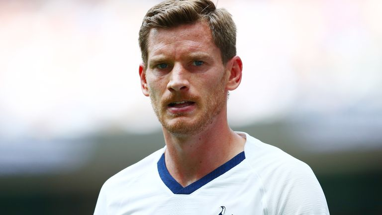 Jan Vertonghen made his first appearance of the season for Tottenham against Arsenal on Sunday