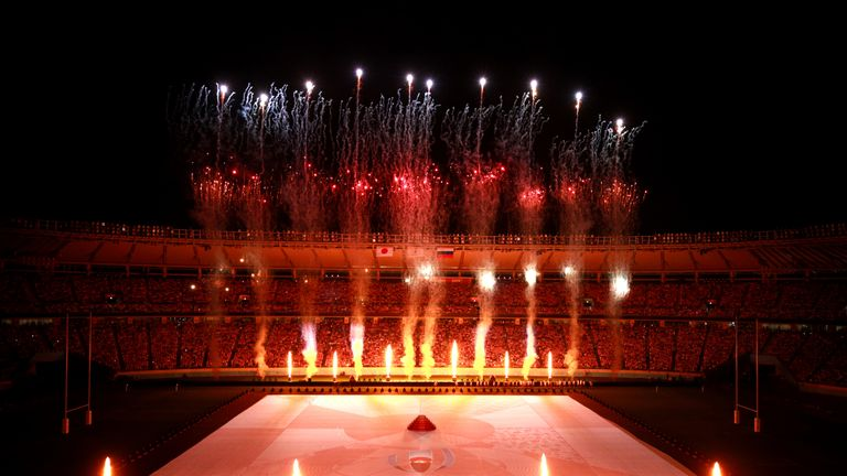CHOFU, JAPAN - SEPTEMBER 20: Fireworks during the opening ceremony prior to the Rugby World Cup 2019 Group A game between Japan and Russia at the Tokyo Stadium on September 20, 2019 in Chofu, Tokyo, Japan. (Photo by Adam Pretty/Getty Images)