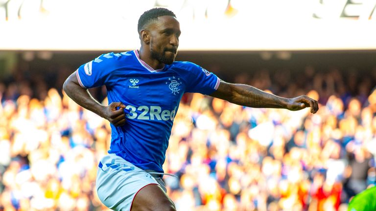 Jermain Defoe celebrates after scoring to make it 5-0 during the Ladbrokes Premiership match between Rangers and Aberdeen at Ibrox