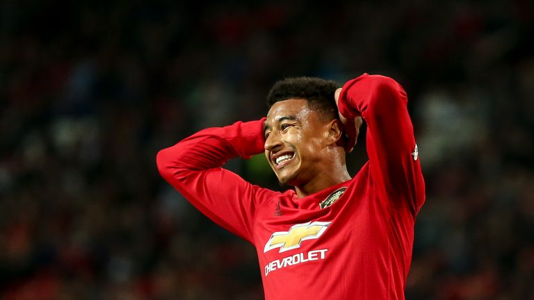 Manchester United's Jesse Lingard during the Carabao Cup match against Rochdale