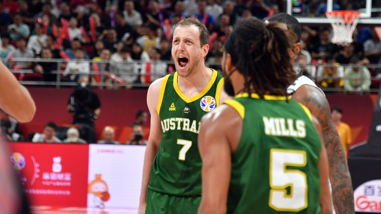 Joe Ingles of the Australia reacts to a play during the game against France during the Third Place Game of the 2019 FIBA World Cup