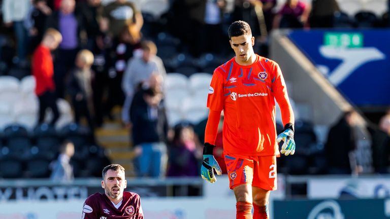 Hearts players looked dejected after failing to net past St Mirren