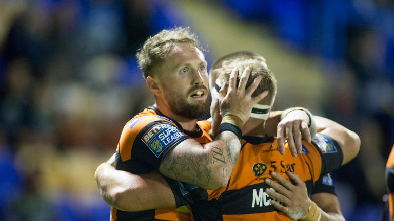 Picture by Isabel Pearce/SWpix.com - 19/09/2019 - Rugby League - Betfred Super League Elimination Play Off - Warrington Wolves v Castleford Tigers - Halliwell Jones Stadium, Warrington, England - Jordan Rankin of Castleford celebrates his try with teammates.