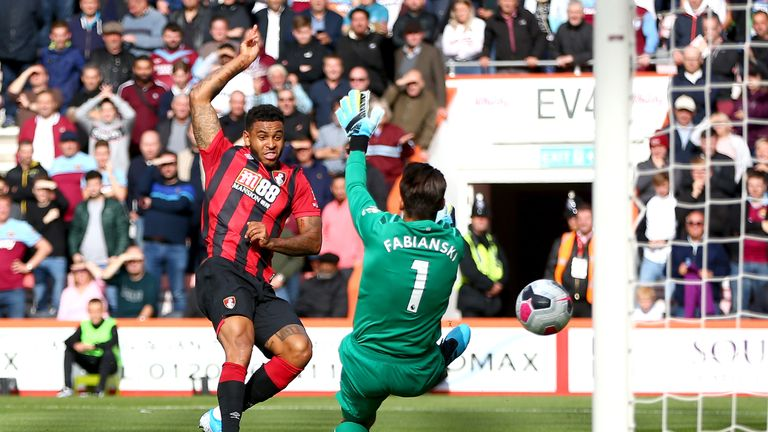 Joshua King slots in Bournemouth's first-half equaliser after 17 minutes