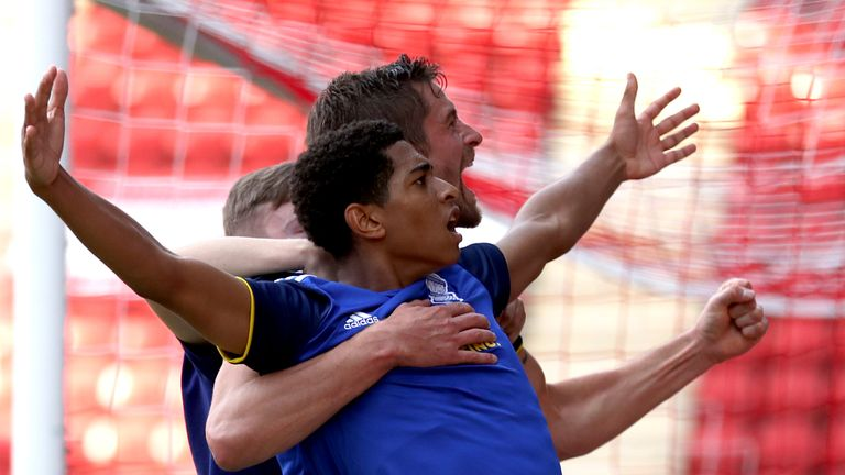 Birmingham City's Jude Bellingham celebrates after he scores his side's first goal of the game