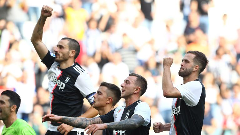 during the Serie A match between Juventus and SPAL at  on September 29, 2019 in Turin, Italy.
