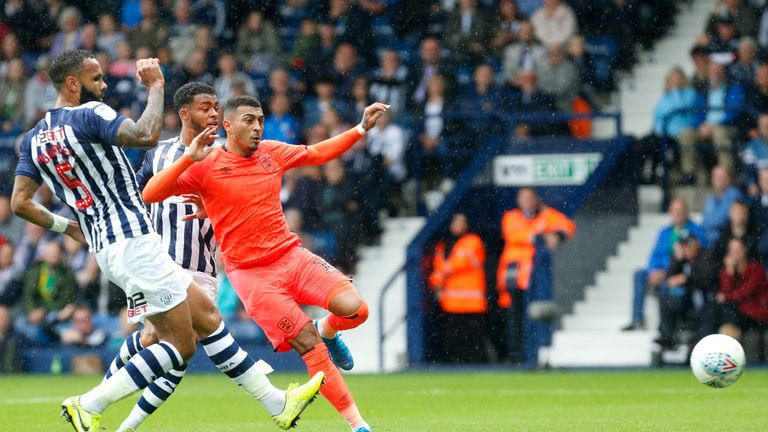 Karlan Grant scores Huddersfield's second goal at The Hawthorns