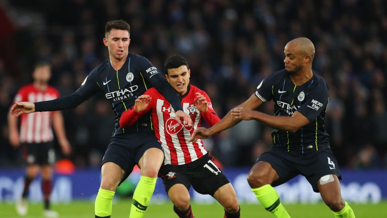 during the Premier League match between Southampton FC and Manchester City at St Mary's Stadium on December 29, 2018 in Southampton, United Kingdom.