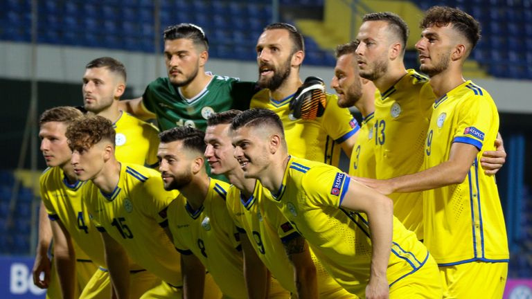 Kosovo lineup before the 2020 UEFA European Championships group A qualifying match between Montenegro and Kosovo