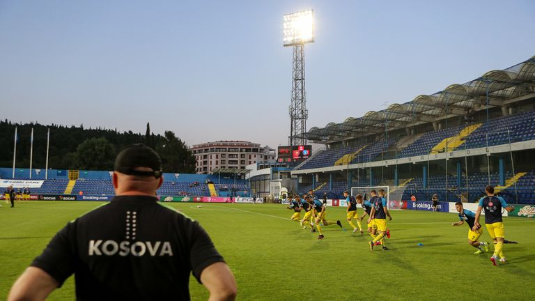 Kosovo warm-up before the 2020 UEFA European Championships group A qualifying match between Montenegro and Kosovo