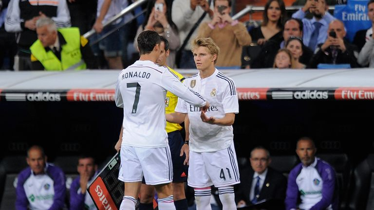 Martin Odegaard's only La Liga appearance for Real Madrid to date was when he replaced Cristiano Ronaldo in the final game of the 2014-15 season
