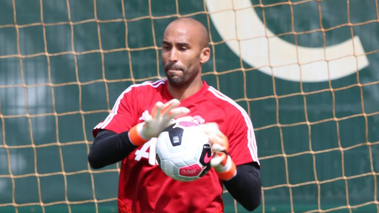 Lee Grant of Manchester United in action during a first team training session at Aon Training Complex on July 04, 2019 in Manchester, England.
