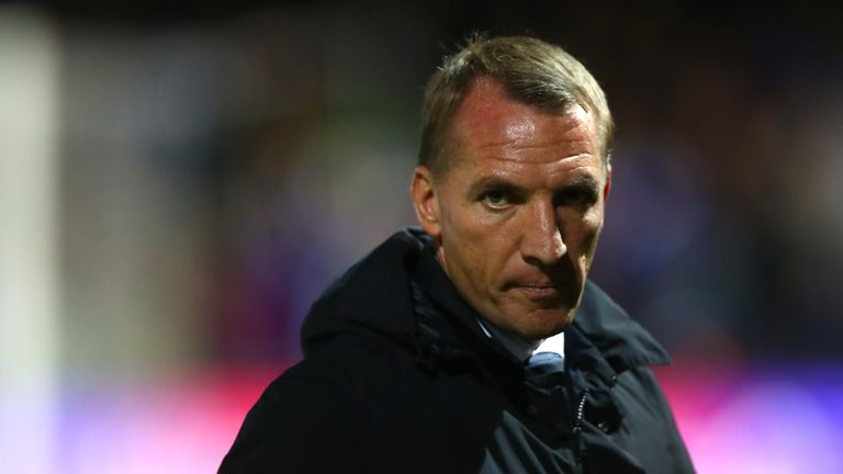 Brendan Rodgers looks on during Leicester's Carabao Cup win at Luton