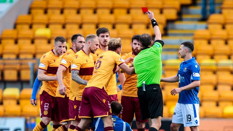 Motherwell players were incensed at Liam Donnelly's sending off