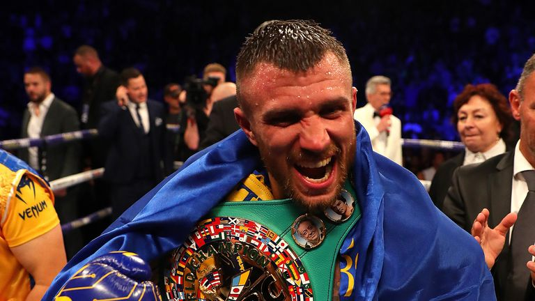 Vasily Lomachenko celebrates after winning the WBA, WBO, WBC Lightweight World Title contest between Vasily Lomachenko and Luke Campbell at The O2 Arena on August 31, 2019 in London, England.