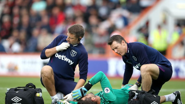 Lukasz Fabianski sustained a thigh injury during the draw against Bournemouth