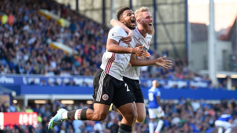 Lys Mousset celebrates his goal with Oliver McBurnie against Everton